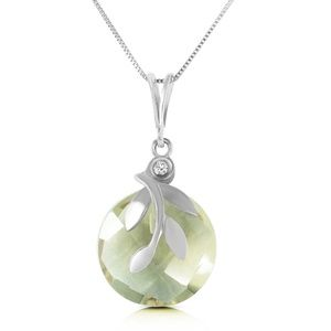 NECKLACE W/ NATURAL GREEN AMETHYST & DIAMONS